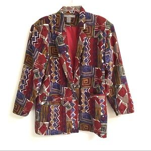 Vintage Robert Stock abstract silk blazer/jacket M
